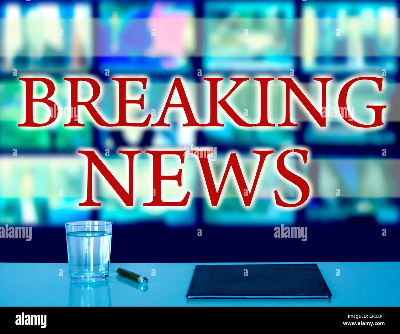 Breaking news television studio media concept background - Stock Image