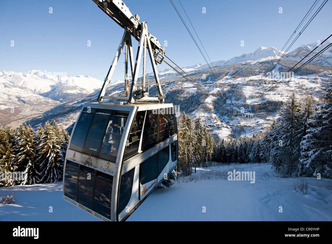 France Savoie les Coches paradiski cabin of Vanoise Express linking with Peisey Nancroix in background view over Stock Photo