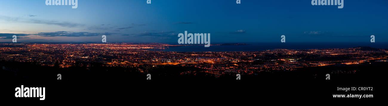 Dublin panorama at twilight - Stock Image