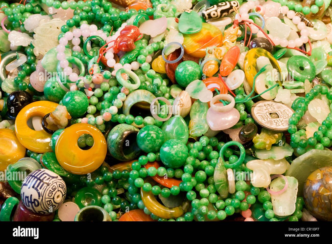 China, Hong Kong, Kowloon, Jade market, Jade souvenir - Stock Image