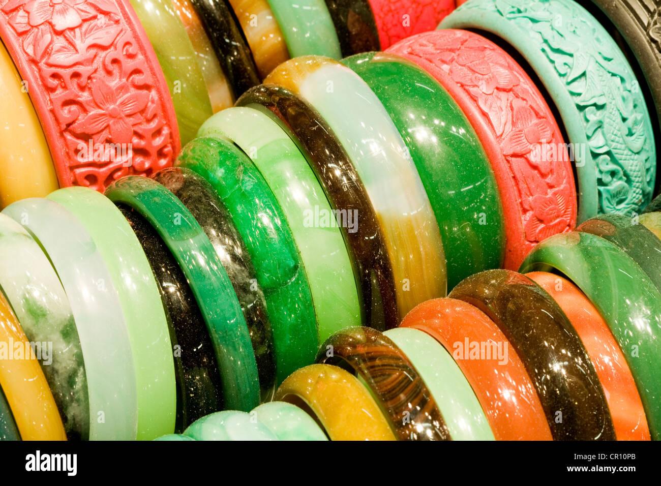 China, Hong Kong, Kowloon, Jade market, jade bracelet - Stock Image