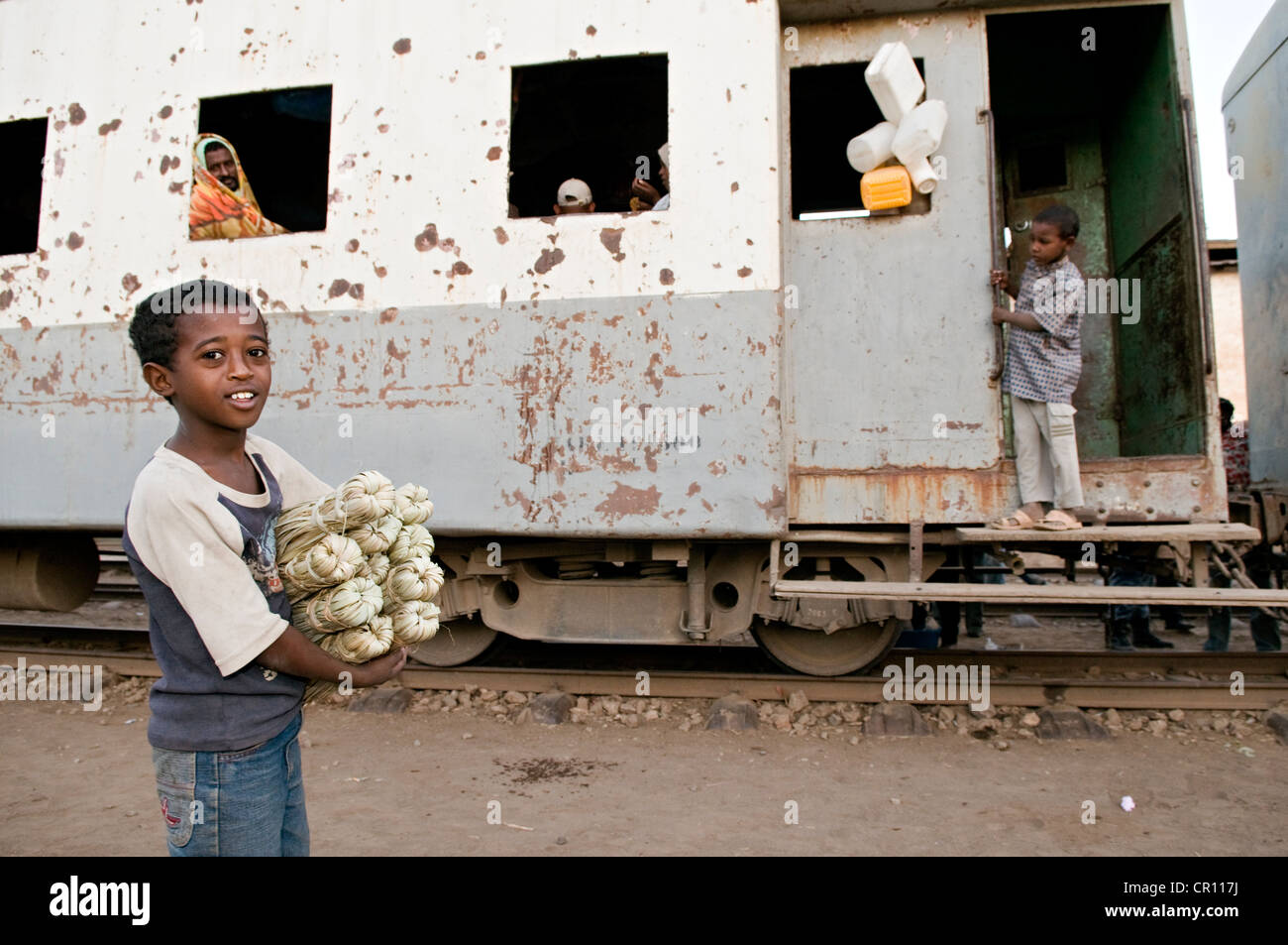 Ethiopia, Afar Region, Awash Saba, train on the only railway line between Djibouti and Ethiopia, built by the French - Stock Image