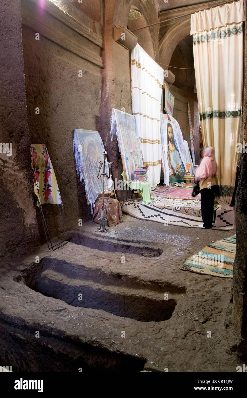 Ethiopia, Amhara Region, Lalibela, Bet Medhane Alem Church, listed as World Heritage by UNESCO - Stock Image