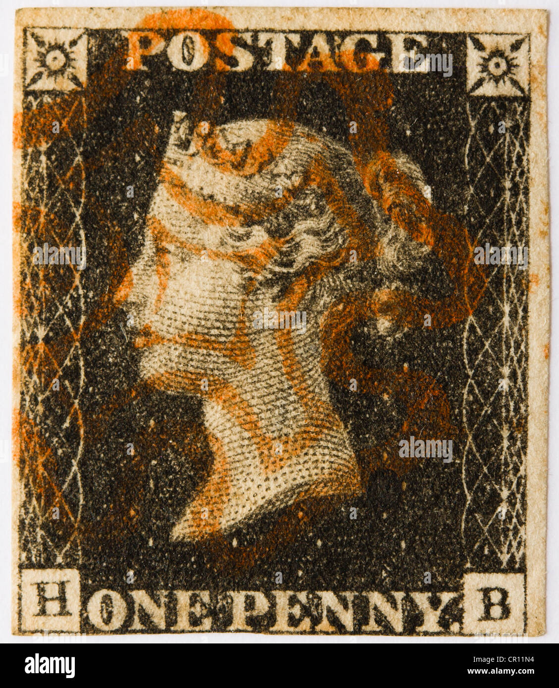 1840 Penny Black with a red Maltese Cross postmark - Stock Image
