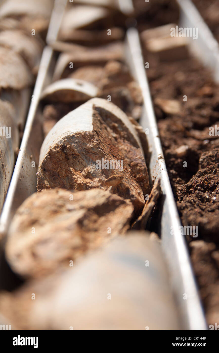 Oxide facies HQ drill core from KKM (Kakula Kalange Munya) - Stock Image
