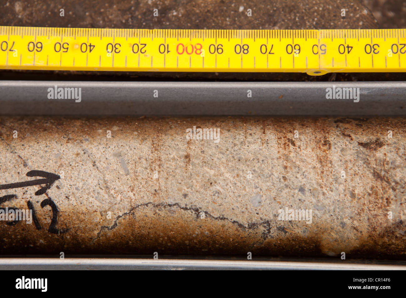 Detail of a rock drill core sample in mining exploration - Stock Image