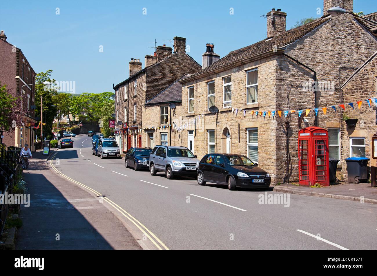 Market Street, Hayfield, Derbyshire UK. - Stock Image