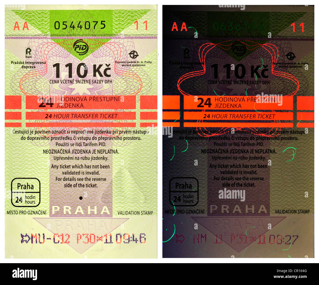 Prague public transport tickets - 24hr ticket - 110Kc crowns. Security features under UV light (right) - Stock Image