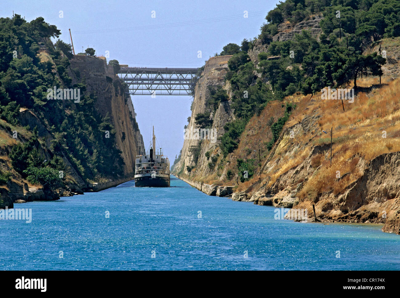 Greece Peloponnese Corinth Canal built in the 19th century to connect the Gulf of Corinth with the Ionian Sea in Stock Photo