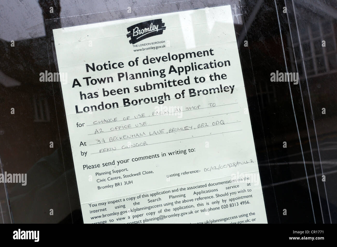 A Town Planning application for change of use from A1 Shop to A2 Office use in the window of an empty shop in Shortlands, - Stock Image