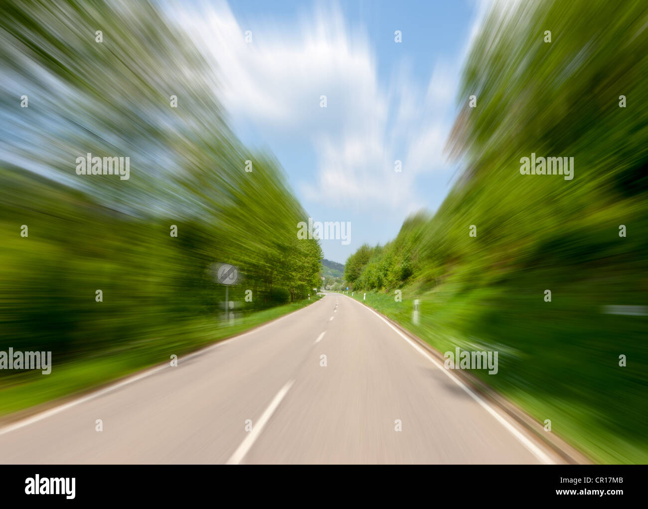 High speed motion, road with a sign showing the end of a speed limit of 60 km h, Neckarsteinach, Hesse, PublicGround - Stock Image