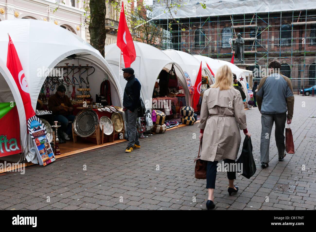 A Tunisian Market in St Anne's Square, Manchester. Stock Photo