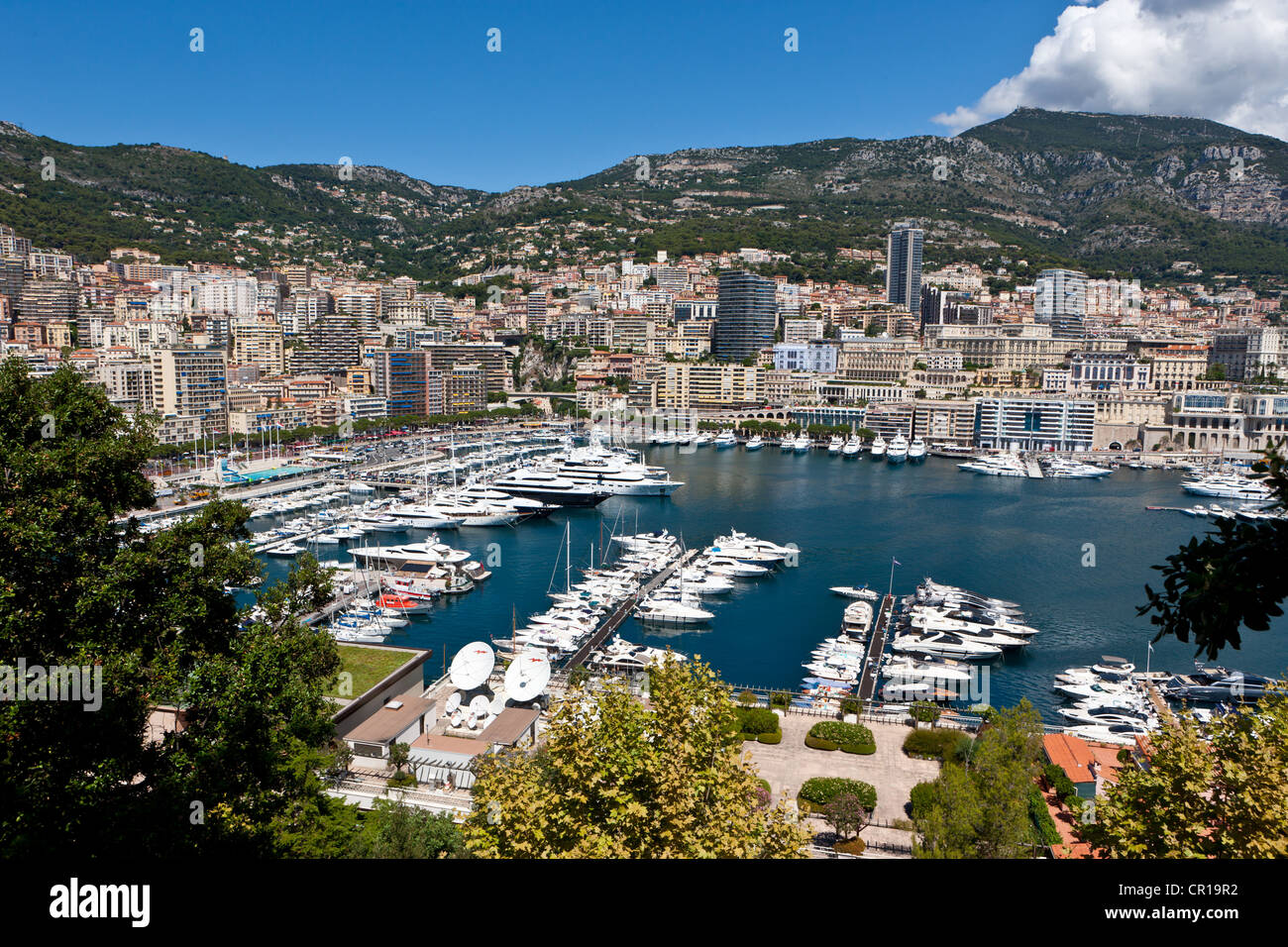 Overlooking the harbour of Monaco, Port Hercule, Monte Carlo, Principality of Monaco, Côte d'Azur, Mediterranean - Stock Image