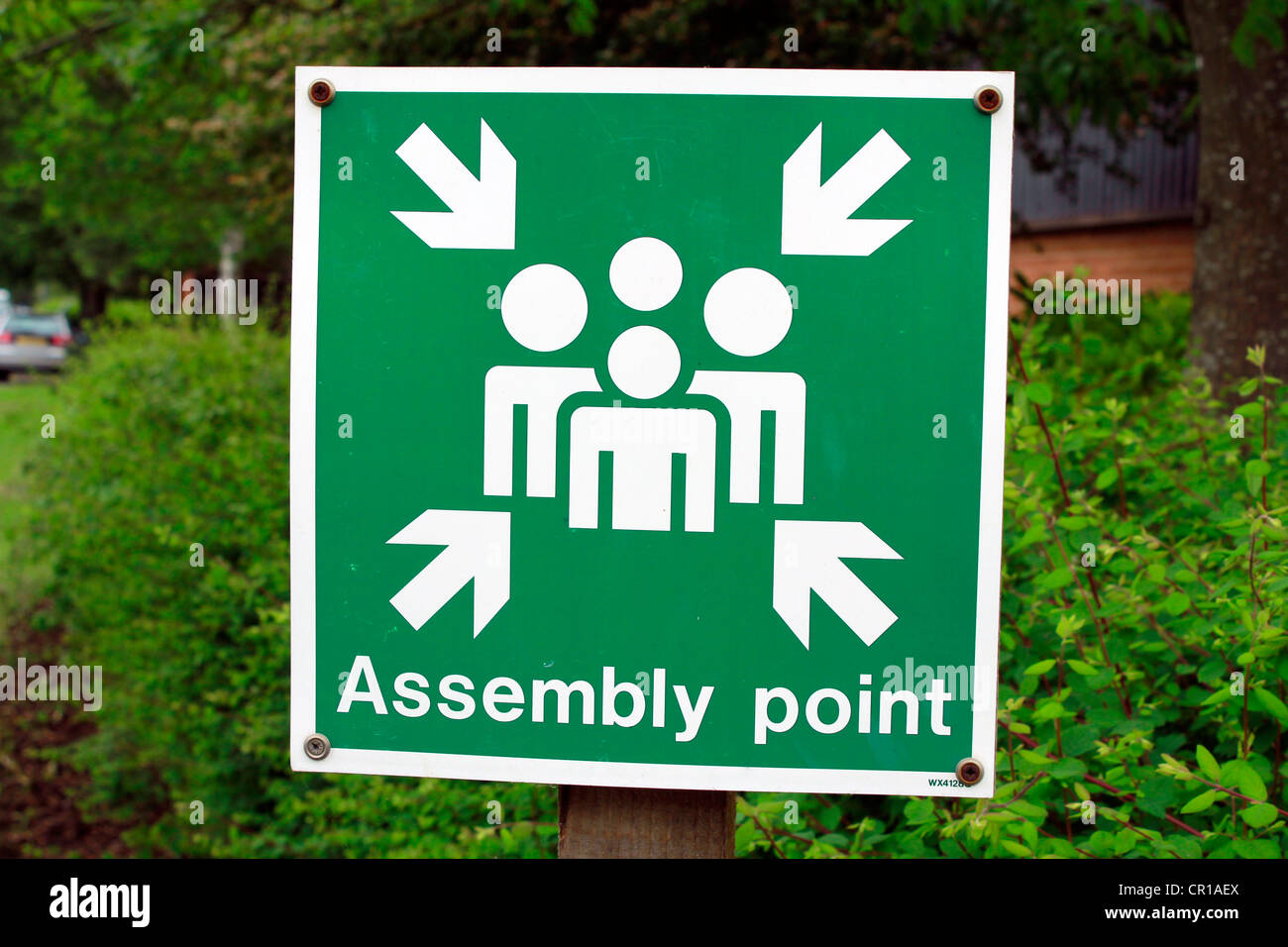 Assembly point sign - Stock Image