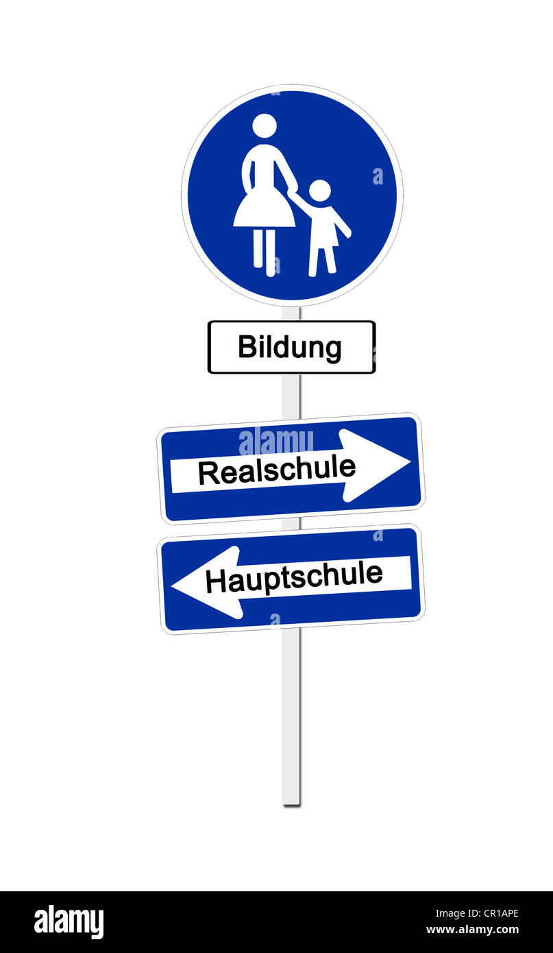 Pedestrian zone sign labeled Bildung, German for education, and one-way-street signs labeled Realschule and Hauptschule, - Stock Image