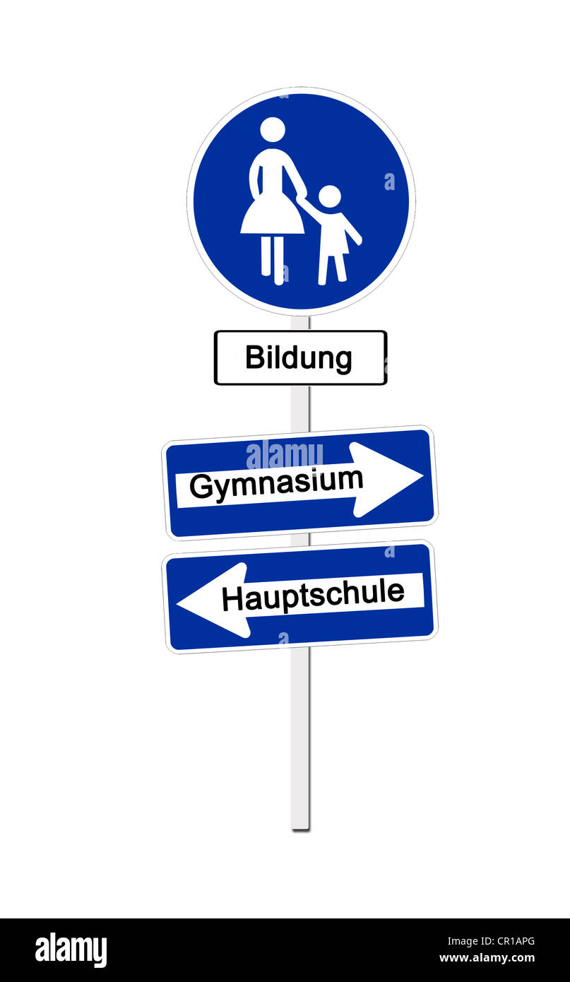 Pedestrian zone sign labeled Bildung, German for education, and one-way-street signs labeled Gymnasium and Hauptschule, - Stock Image