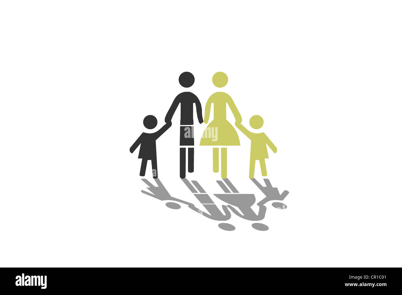 Family, blended family, mixed marriage, symbolic image, illustration - Stock Image