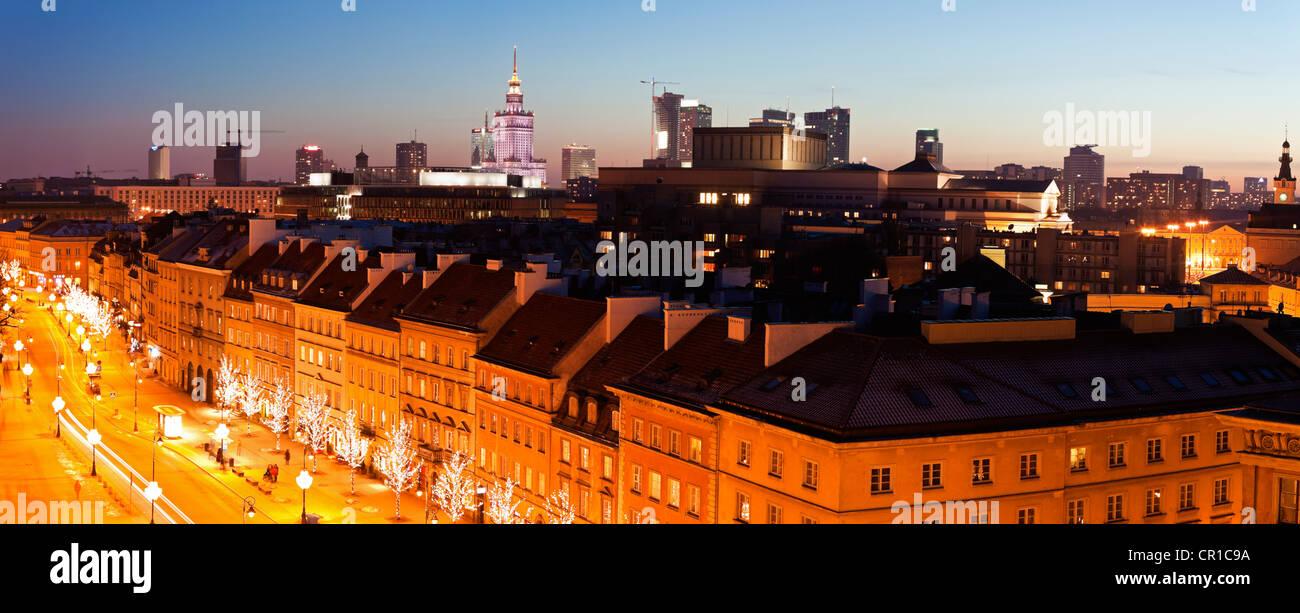 Poland, Warsaw, View over Krakowskie Przedmiescie towards downtown Stock Photo
