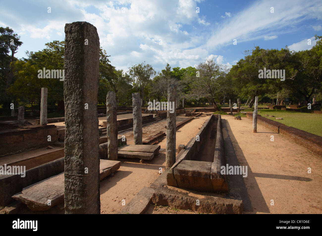 Remains of monastic refectory, Northern Ruins, Anuradhapura, (UNESCO World Heritage Site), North Central Province, Stock Photo