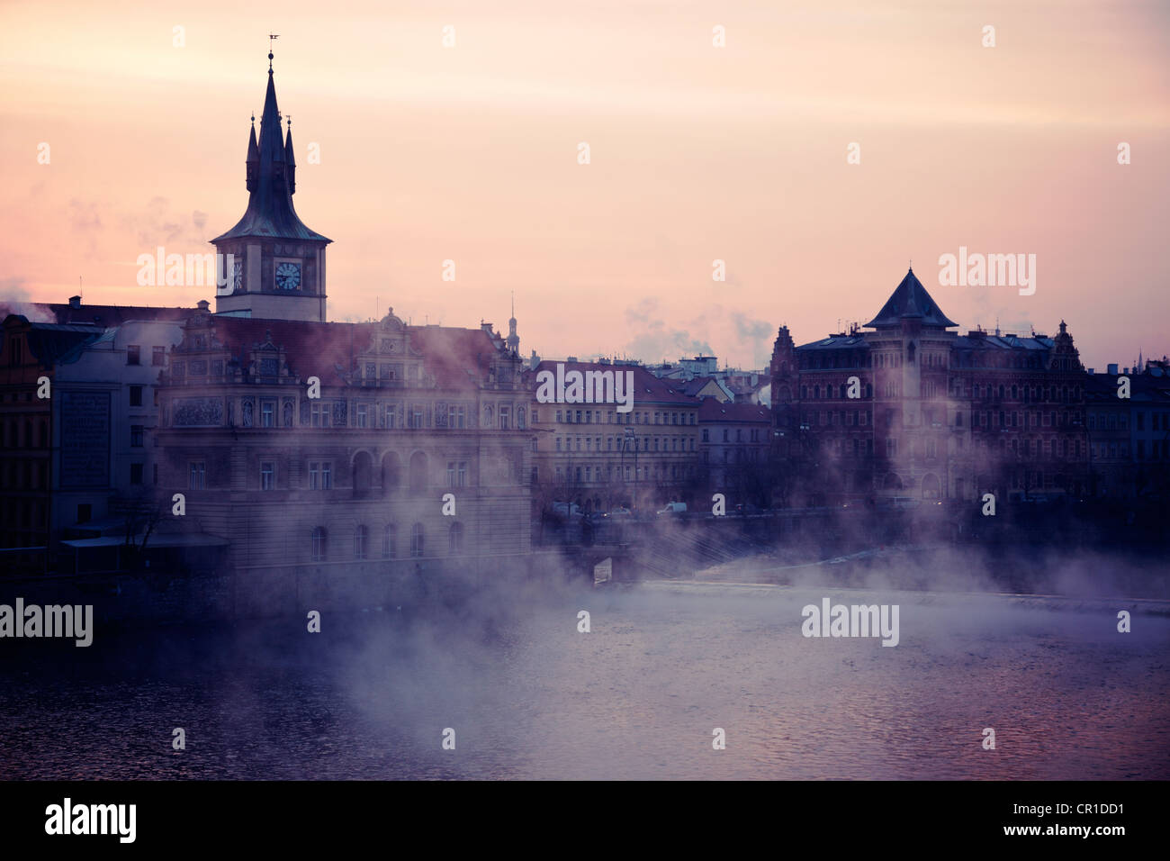 Czech Republic, Prague, View over Vltava River towards Old Town at sunrise - Stock Image