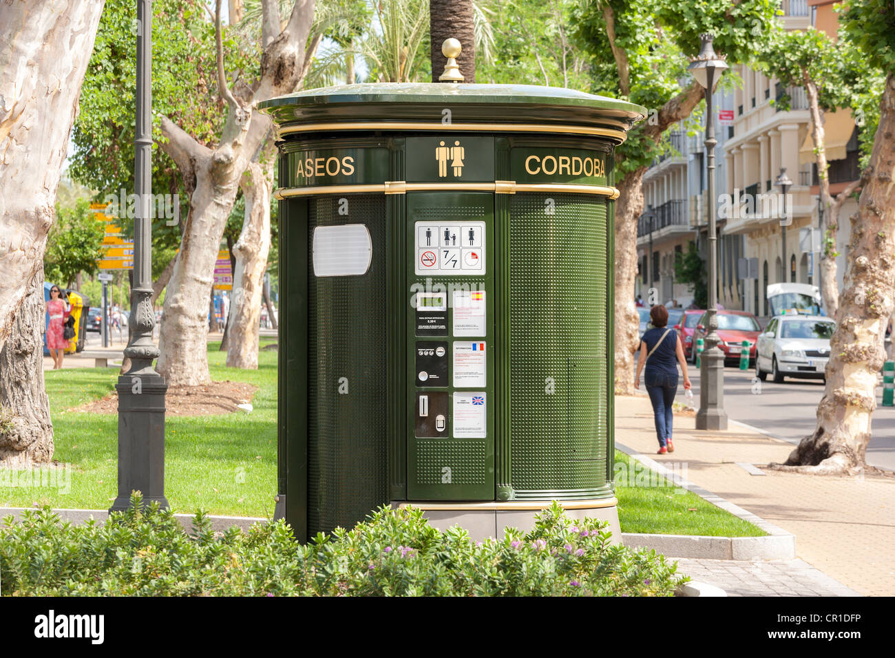 Public unisex self-cleaning automated conveniences, bathroom, toilets, restrooms, facilities, superloo in Cordoba - Stock Image
