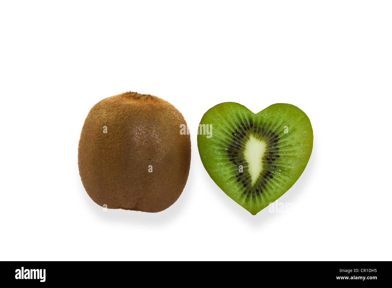 Kiwi fruits, heart-shaped kiwi fruit - Stock Image