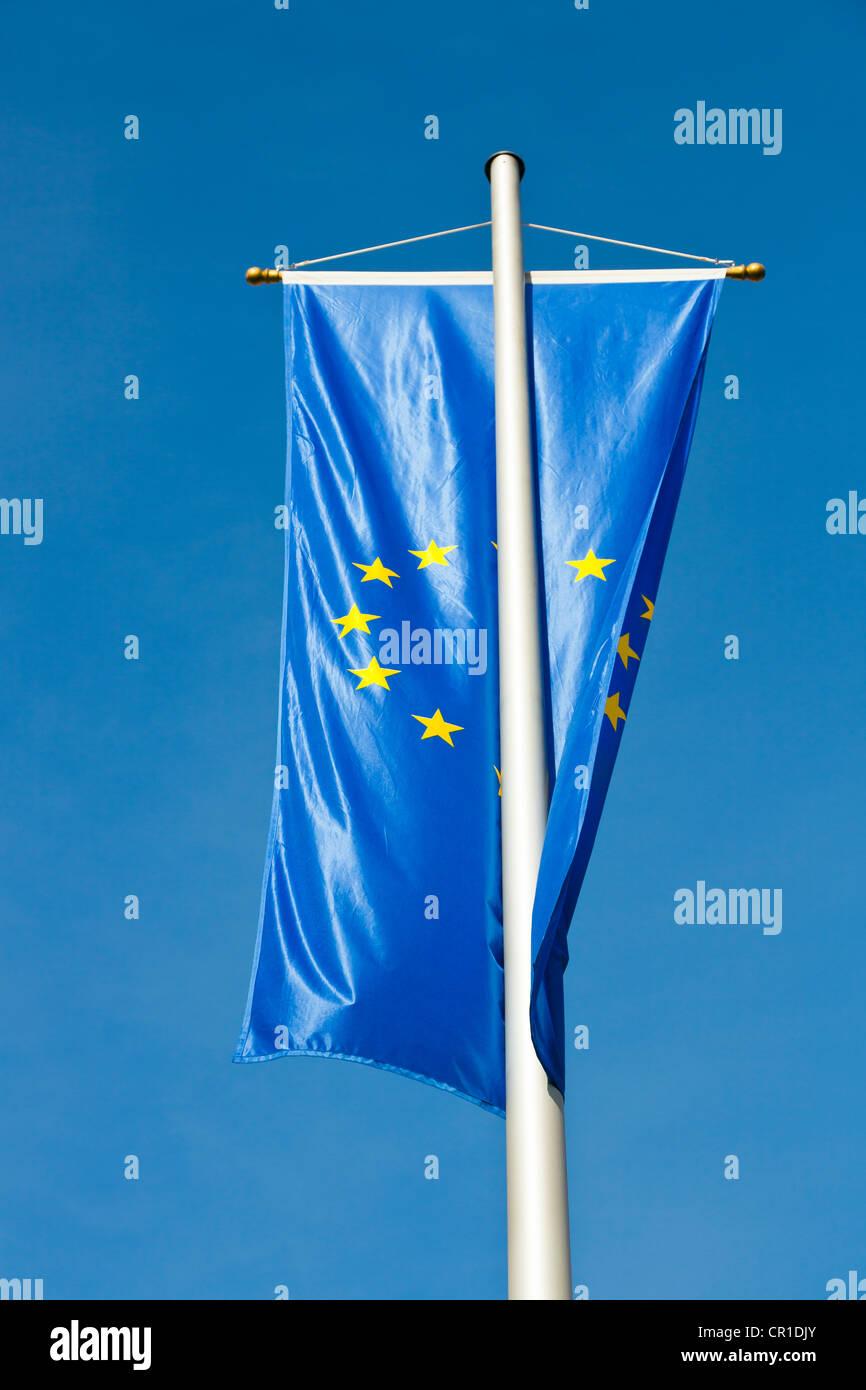 European flag on a flagpole - Stock Image