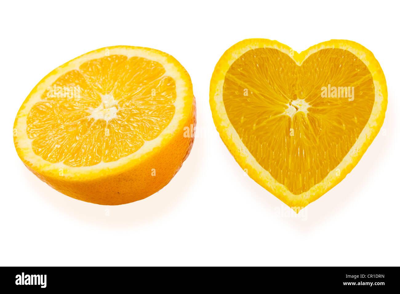 Oranges, heart-shaped - Stock Image