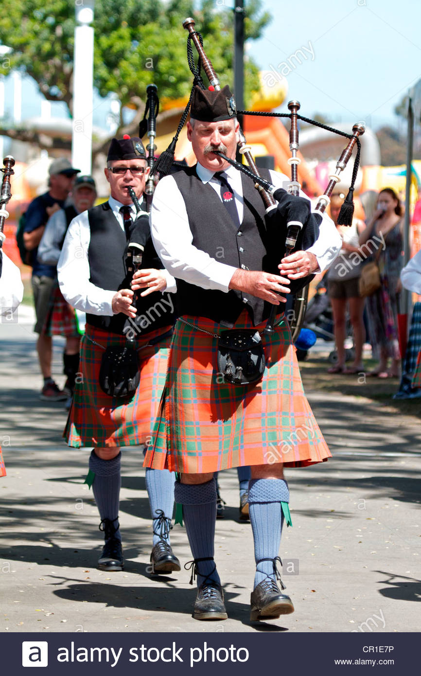 Scottish bagpipers at the Sottish festival and Highland games Costa Mesa California USA Stock Photo