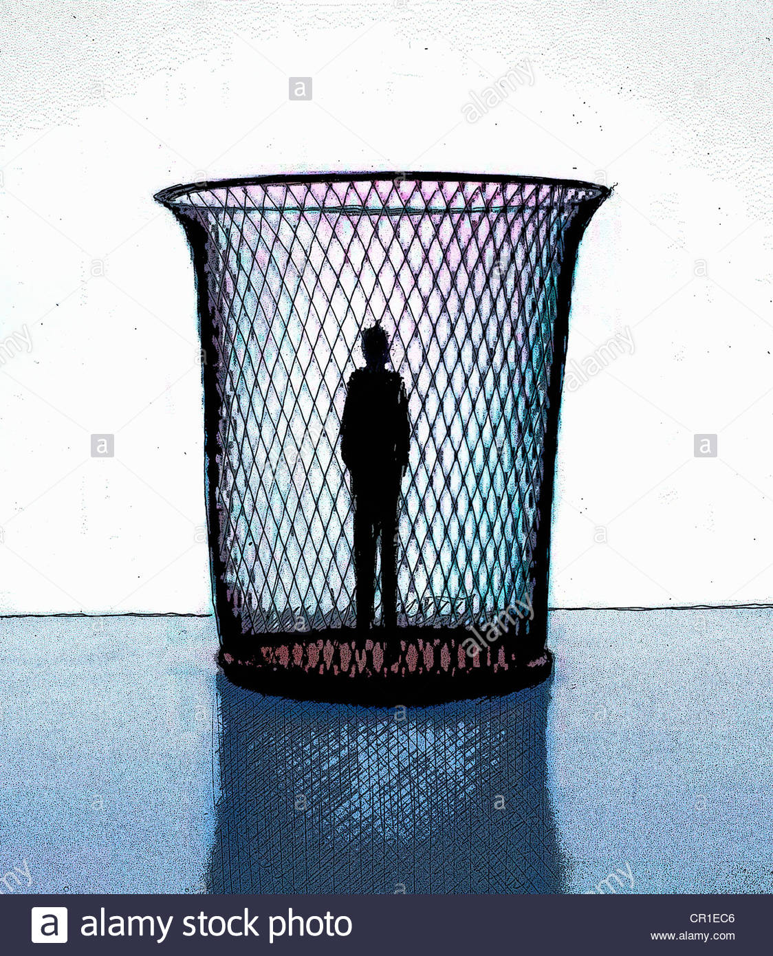 Silhouette of man standing in wastepaper basket - Stock Image