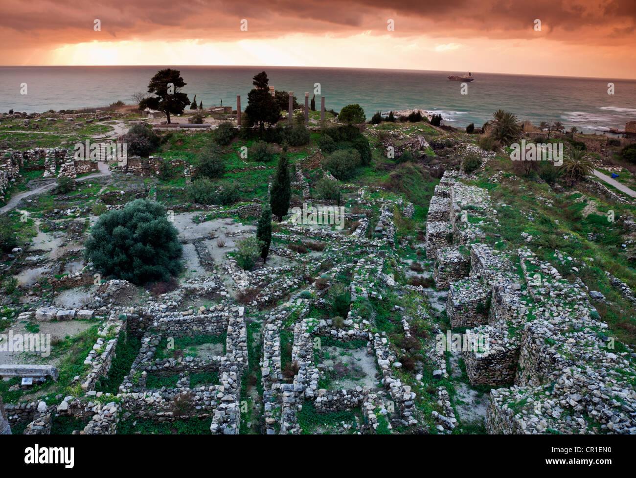 Lebanon, Byblos,  Ruins of ancient Greek city at sunset - Stock Image