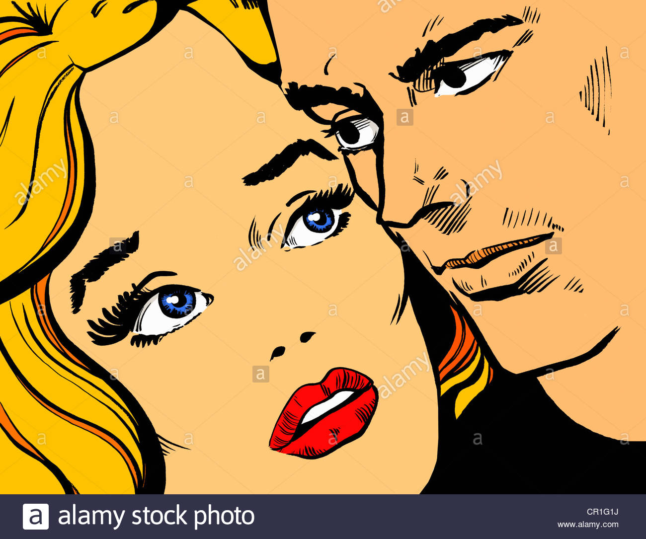 Close-up of couple's anxious faces - Stock Image