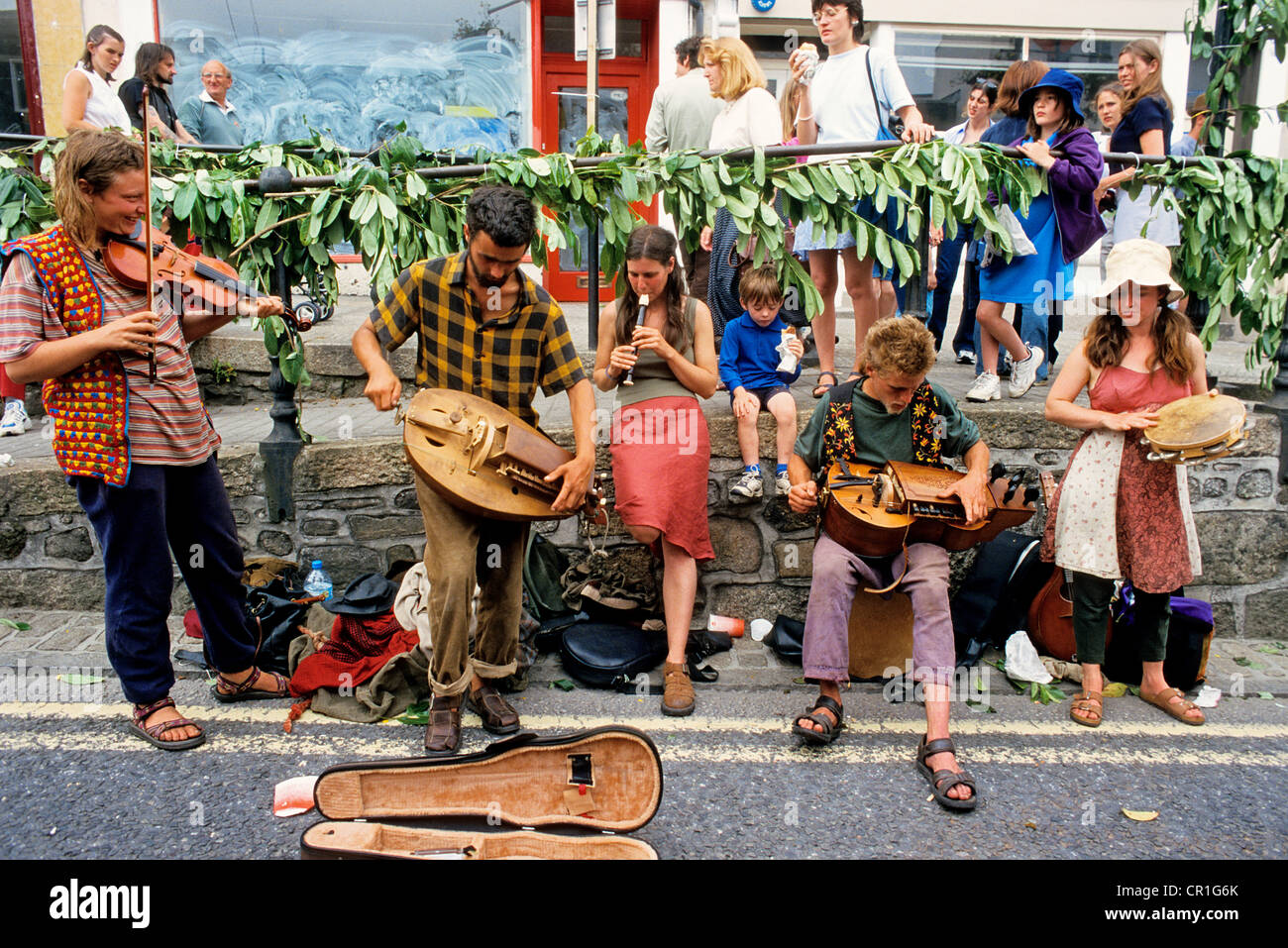 United Kingdom, Cornwall, Penzance, Travellers at the Golowan Festival - Stock Image