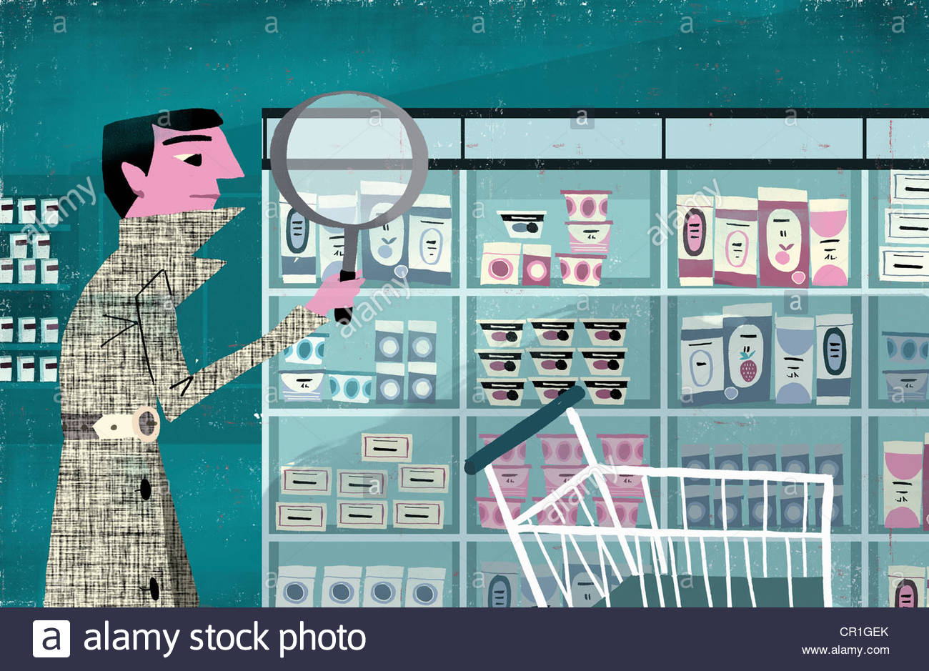 Detective examining products on supermarket shelf with magnifying glass - Stock Image