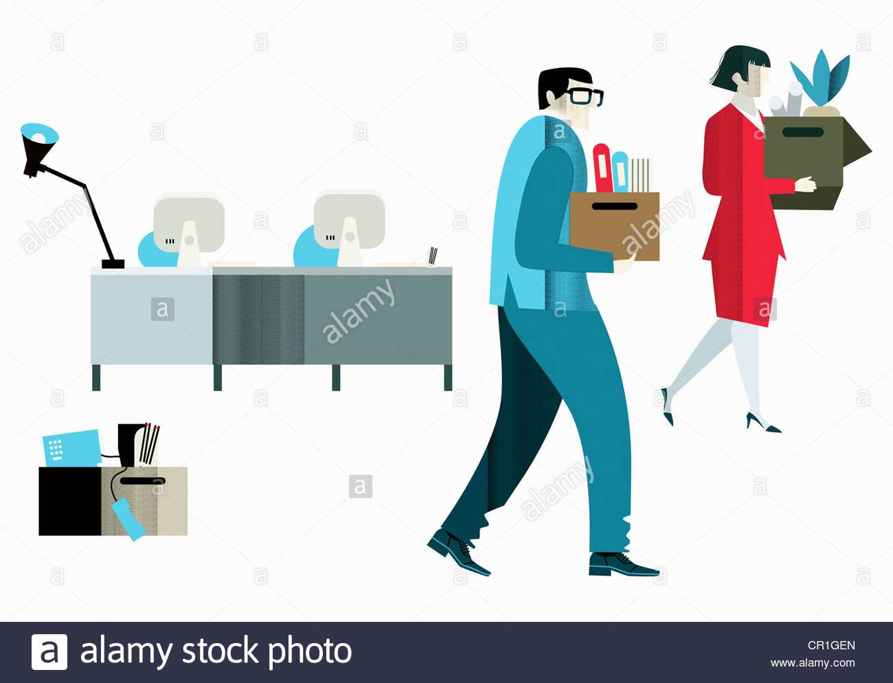 Office workers leaving with belongings - Stock Image