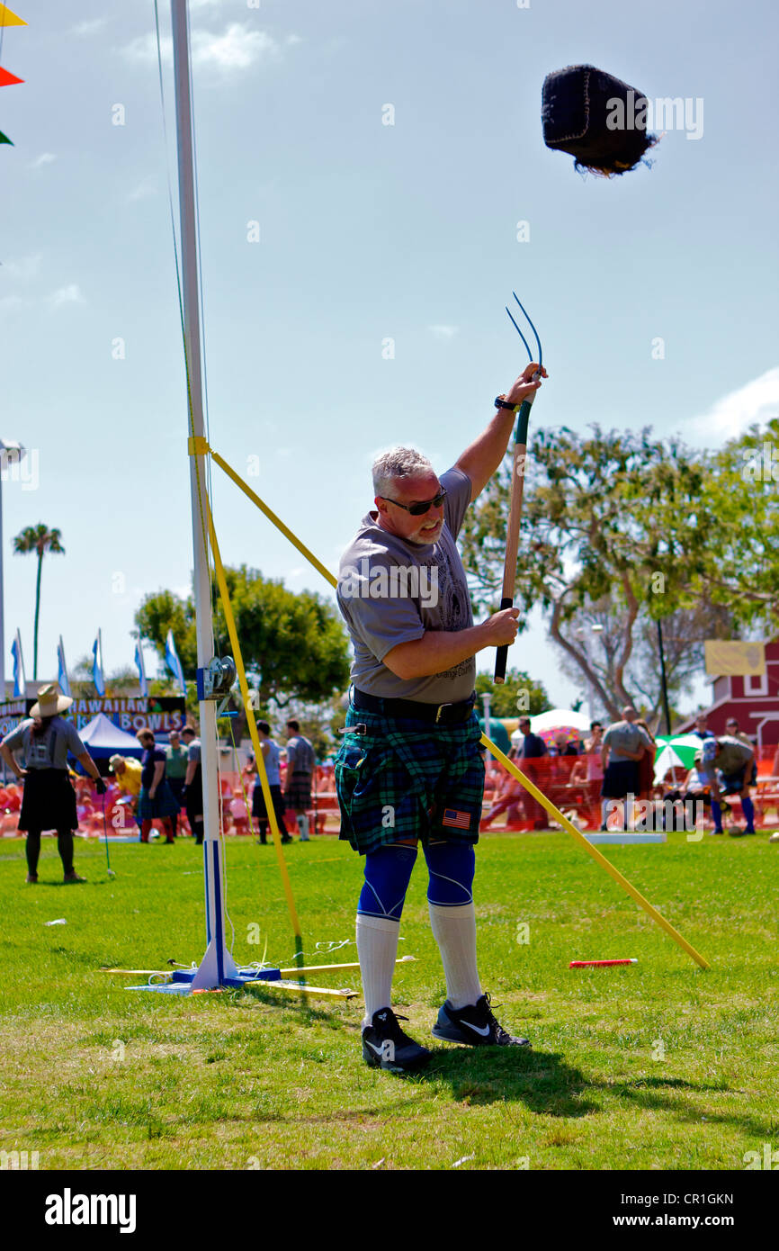 Sheaf Toss at the Scottish Festival Orange County Fairgrounds Costa Mesa, California. Stock Photo