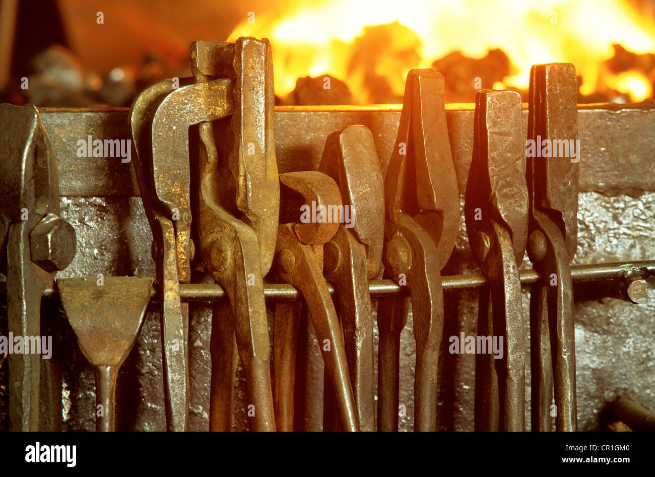 France, Vaucluse, Pernes les Fontaines, La Forge ironworks, Jean Philippe Fally - Stock Image