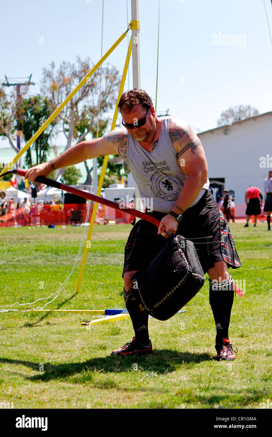 Sheaf Toss at the Scottish Festival Orange County Fairgrounds Costa Mesa, California. Stock Photo