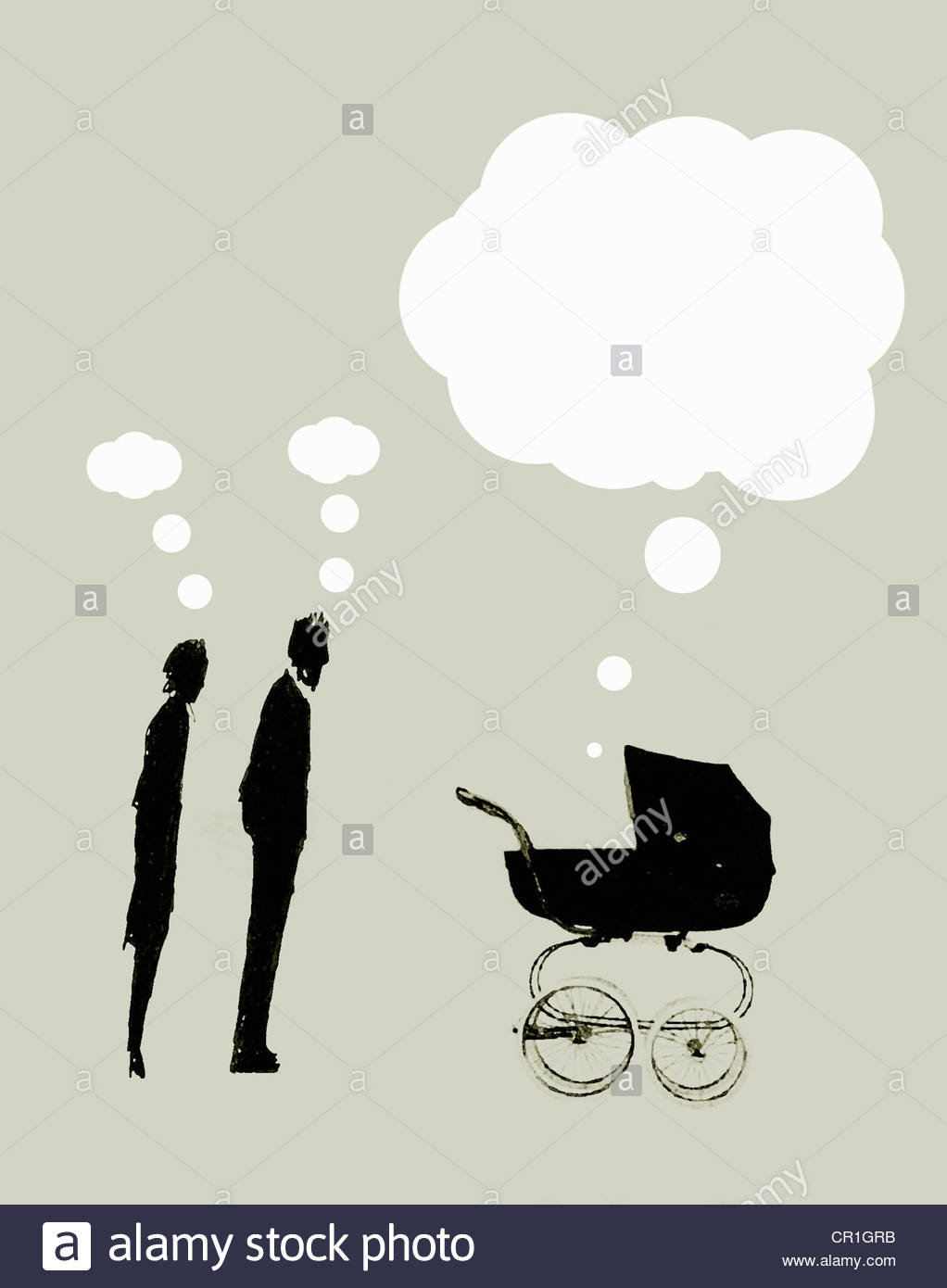 Parents with small thought bubbles overhead looking at pram with large speech bubble above - Stock Image