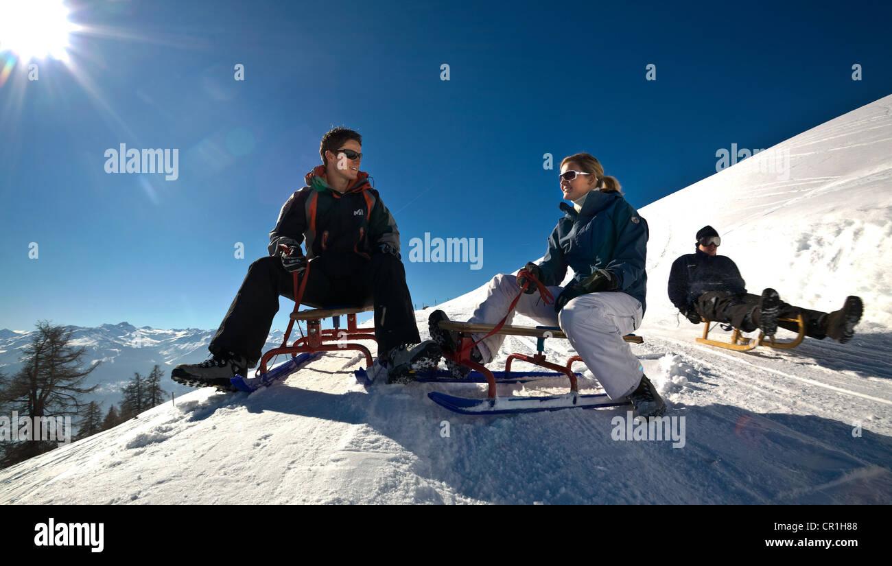 Switzerland, canton of Valais, Crans-Montana, Sledge slope - Stock Image