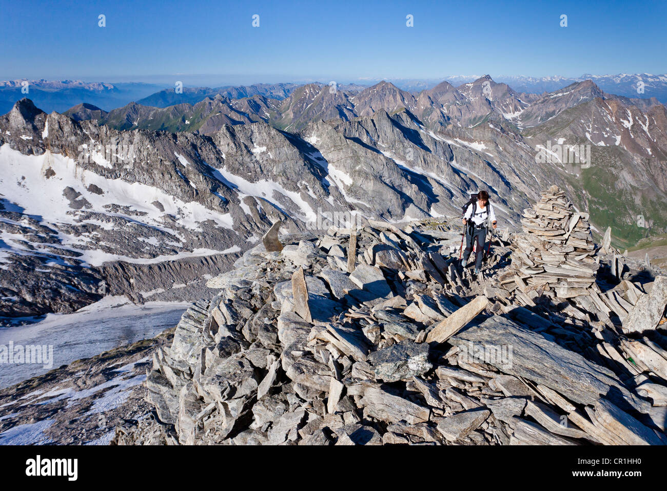 View while climbing Hochfeiler Mountain, overlooking the Pfitschertal, Eisacktal and Wipptal valleys and the Dolomites Stock Photo