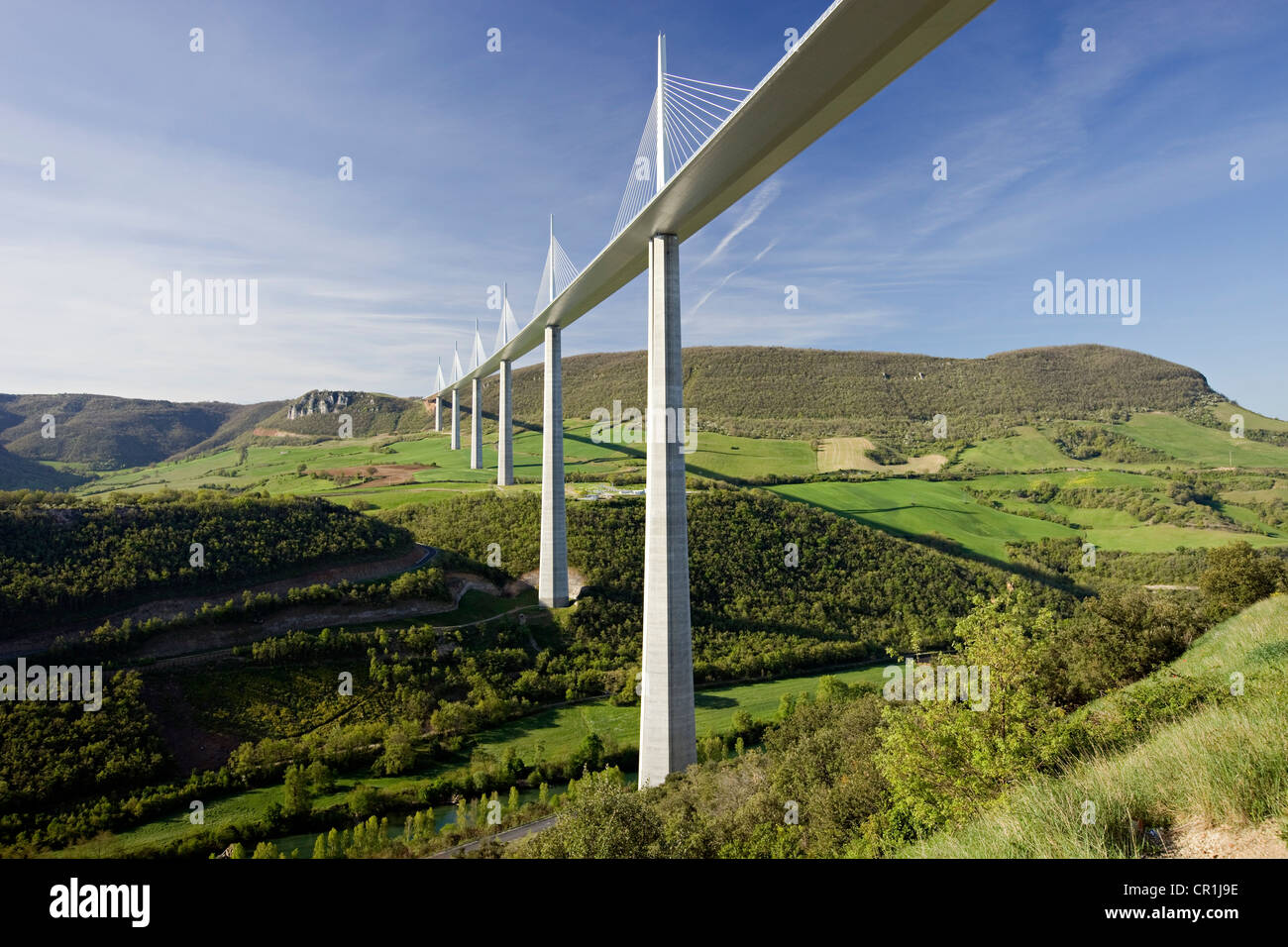 France, Aveyron, Millau Viaduct (A75 Motorway) built by Michel Virlogeux and Norman Foster, located between Causses - Stock Image