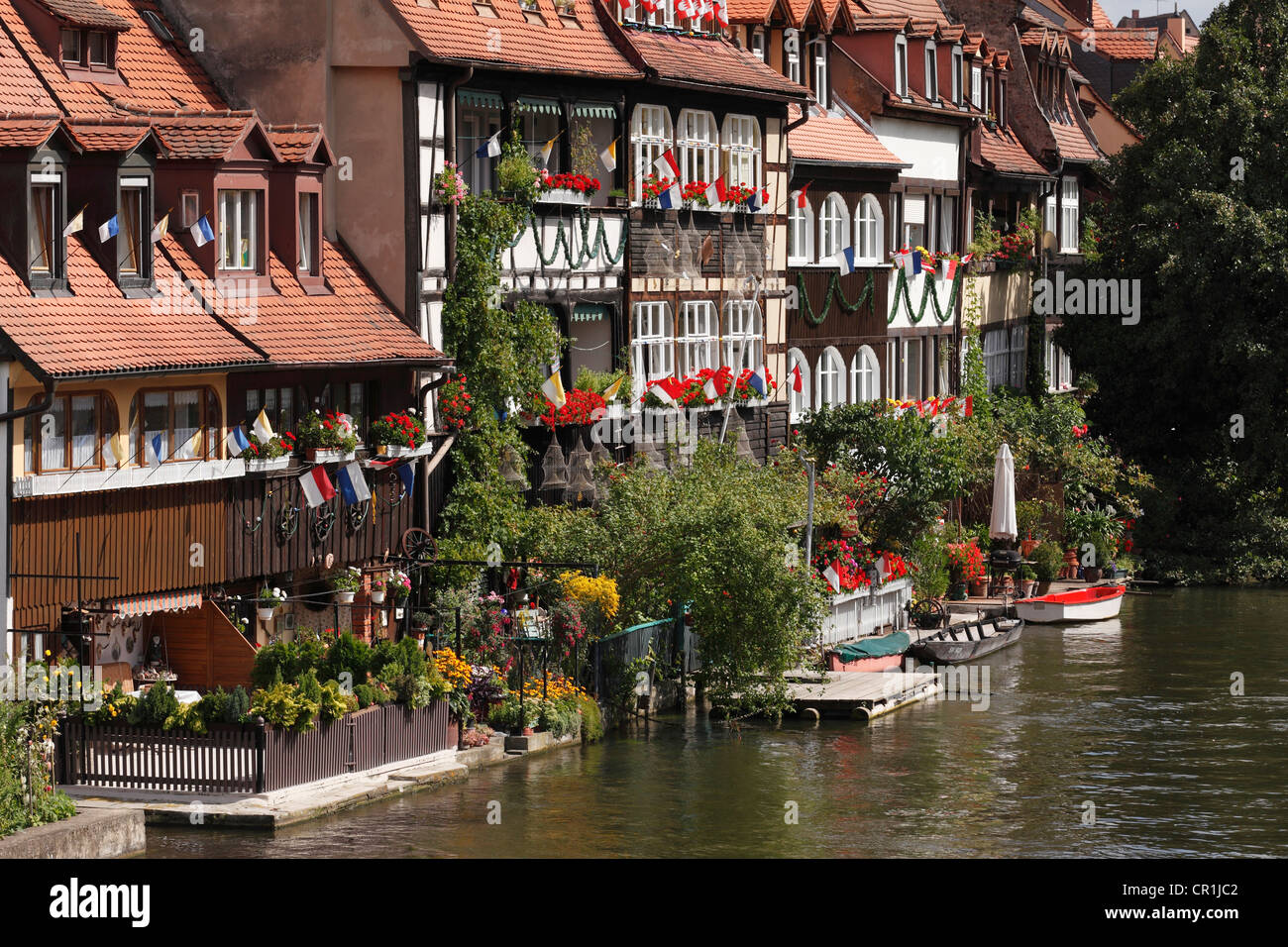 Klein-Venedig, little Venice, and Regnitz river, Bamberg, Upper Franconia, Franconia, Bavaria, Germany, Europe, - Stock Image