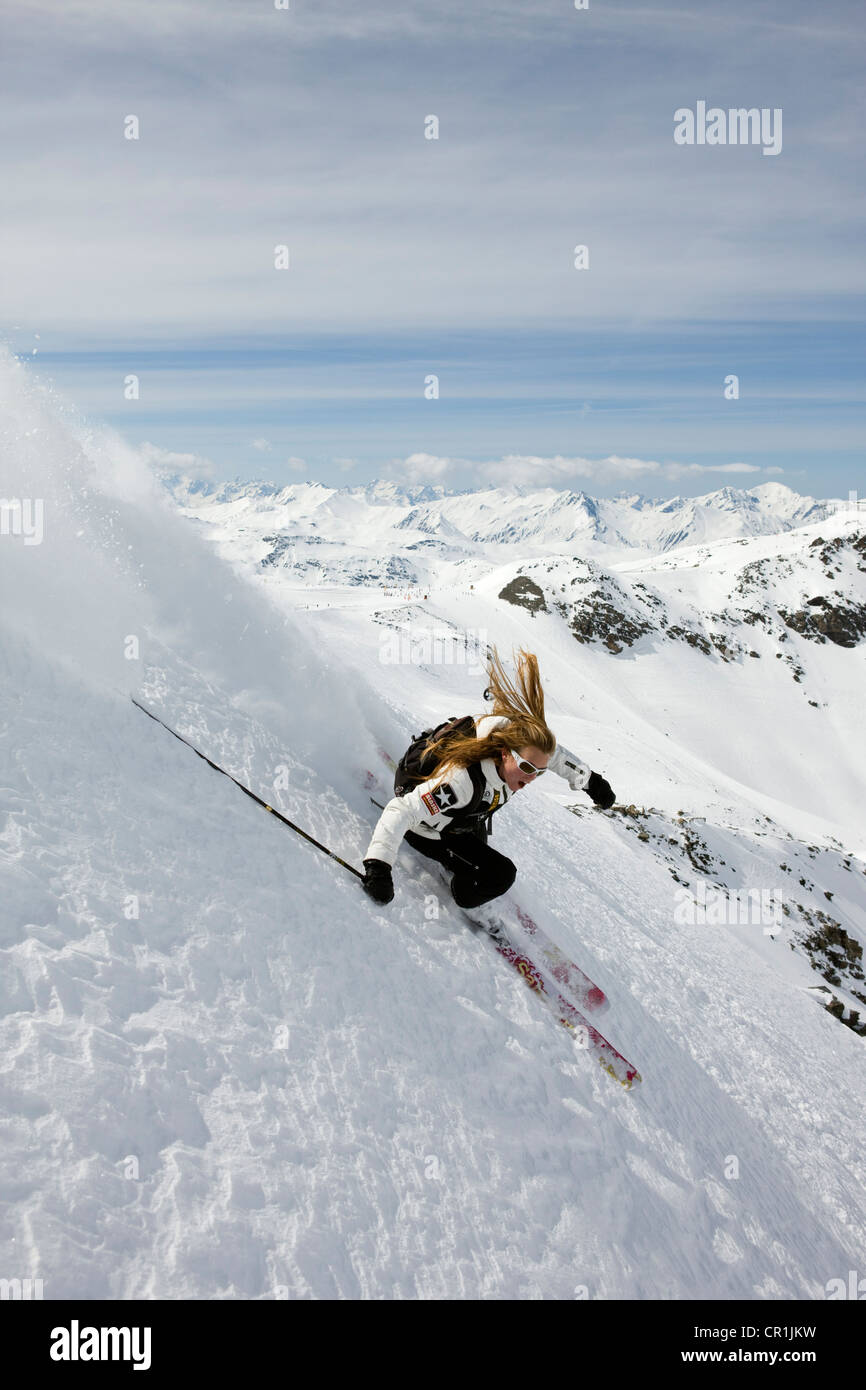 France, Savoie, Meribel, Val Thorens, off-piste skiing Stock Photo