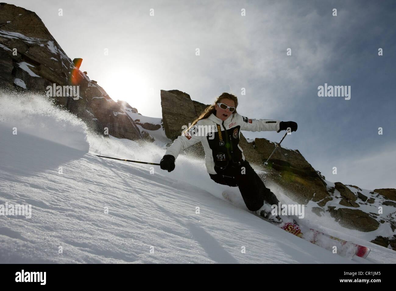 France, Savoie, Meribel, Val Thorens, off-piste skiing Stock Photo