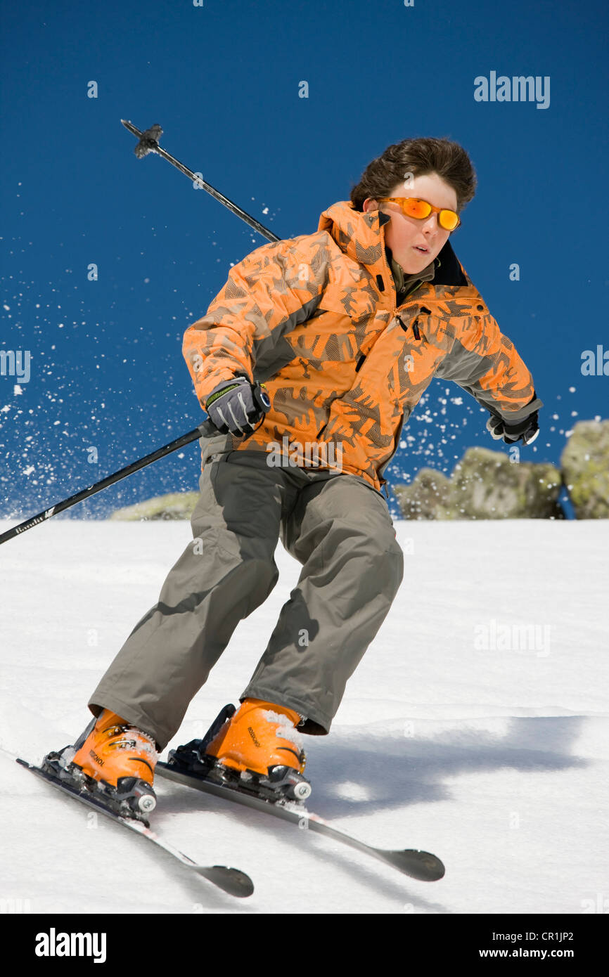 France, Savoie, Meribel, off-piste skiing - Stock Image