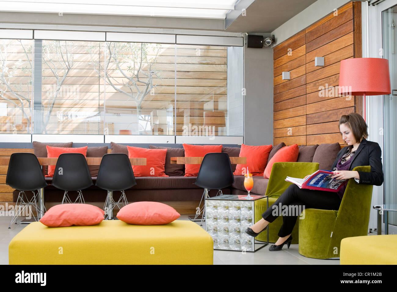 Greece, Attica, Athens, Fresh Hotel, Air Lounge Bar - Stock Image