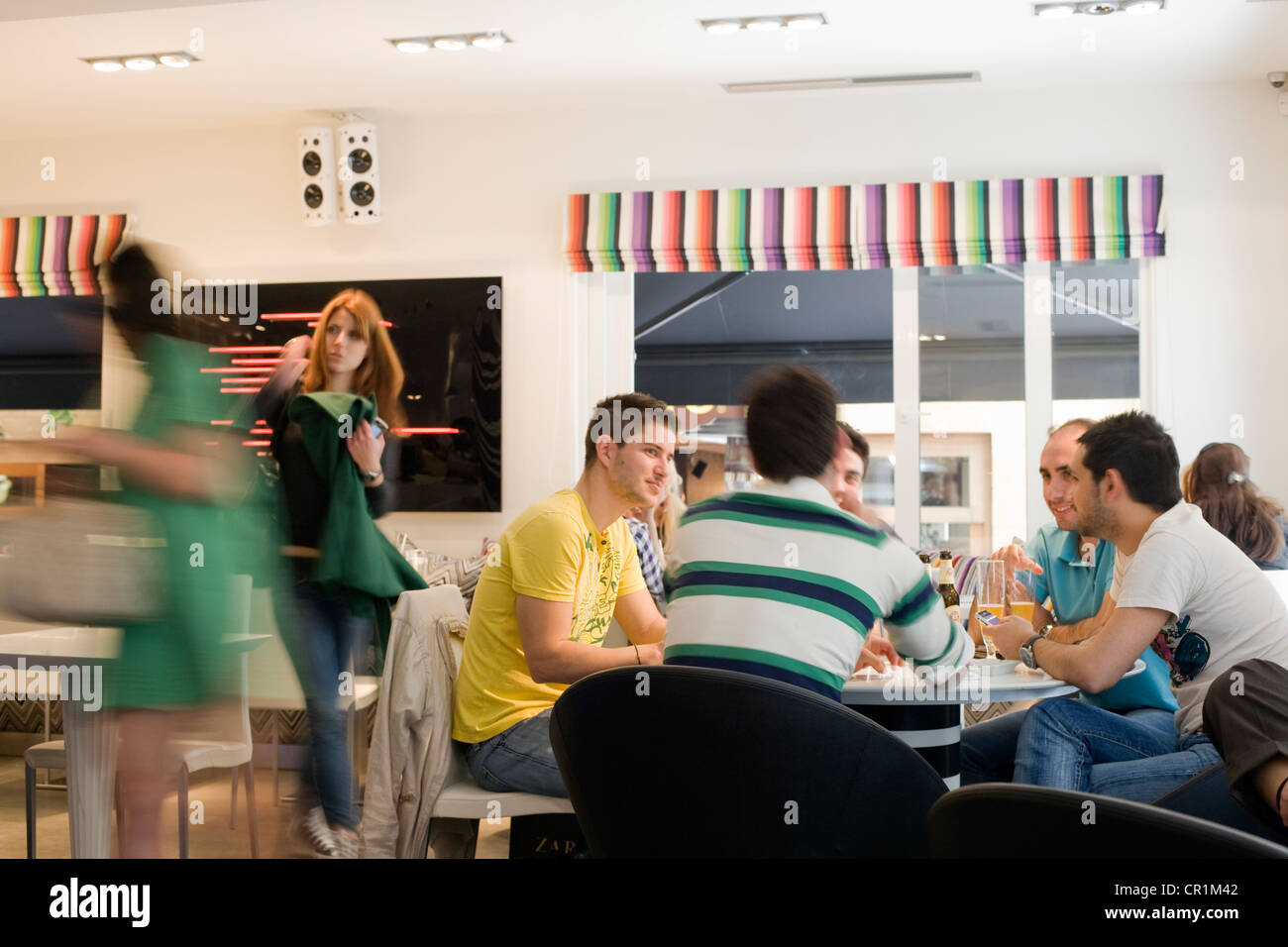 Greece, Attica, Athens, Kolonaki, Showroom Restaurant and Bar with the whole decoration in Missoni's fabric - Stock Image