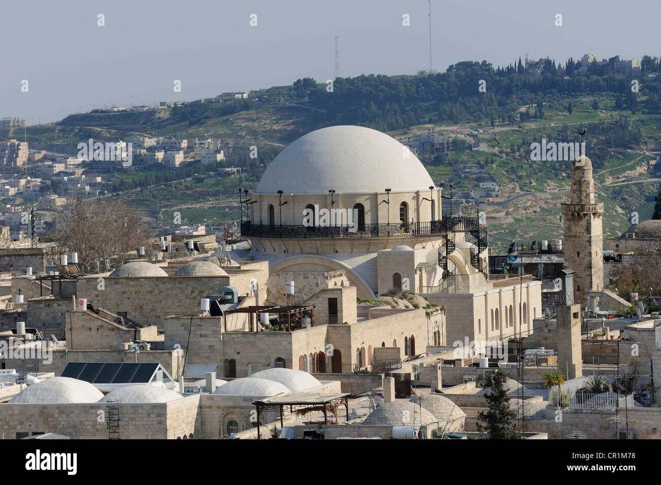 Oblique aerial photograph of the Sephardic Synagogues, Jewish Quarter, Old City of Jerusalem, Israel, Middle East - Stock Image