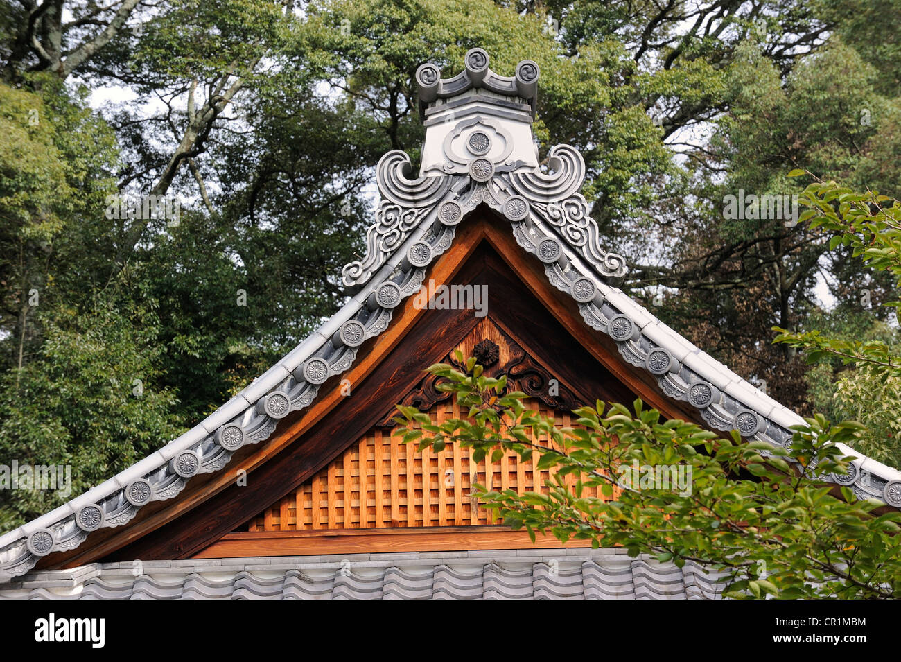 Ridge of the roof with a decorative edge of coping stones on a Shrine roof in Iwakura, near Kyoto, Japan, East Asia, - Stock Image
